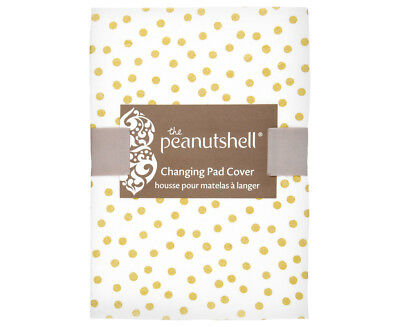 The Peanut Shell Gold Confetti Changing Pad Cover - White/Gold
