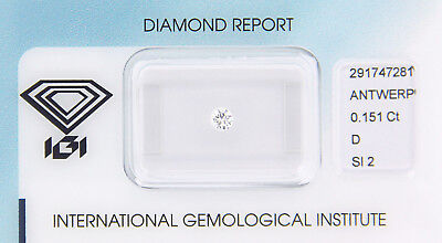 Diamant 0,151 ct D SI 2 IGI Zertifikat  - Sealed -