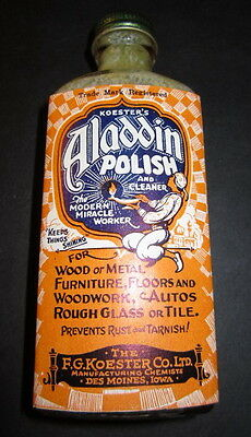 Old 1920's ALADDIN POLISH Advertising BOTTLE w/ LABEL FG Koester Des Moines IOWA