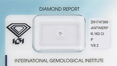 Diamant 0,162 ct F VS 2 IGI Zertifikat  - Sealed -