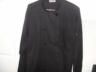 Long Sleeve Black Chef Jacket Double Breasted  (size XL)  Uncommon Threads
