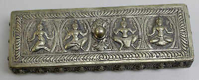 Antique Sterling Silver Ornate Relief Trinket Box w/Siam Dancers - 103.9 Grams