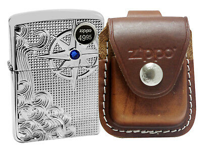 Zippo 28809 Deep Carved Lighter + LPLB Brown Leather Pouch Clip