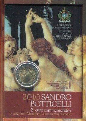 2010 San Marino  2 Euro Sandro Botticelli Uncirculated Commemorative Coin