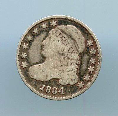 1834 ~ 10C Capped Bust Dime ~ Ch Vg