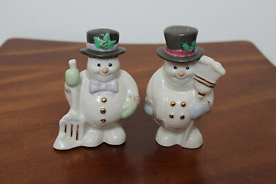 Lenox Snowmen Salt & Pepper Shakers ~ Hand Painted With 24K Gold Accents