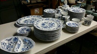 BLUE DANUBE china pattern service for 12 plus XTRA pieces 73 pieces total + S&P