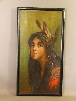 1912 Antique ART NOUVEAU Era INDIAN MAIDEN Lady SQUAW Feathers PORTRAIT PAINTING