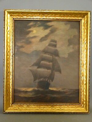 Antique CLIPPER SHIP on SEA Old MARITIME Nautical SEASCAPE PAINTING Old FRAME