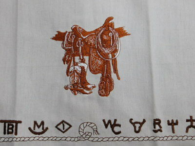 Western Boots Saddle Brands Dish towel embroidered cowboy horse cotton towel