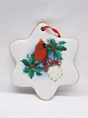 Cardinal in the Holly Berries 3In Round Porcelain Xmas Tree Ornament Fired Decal