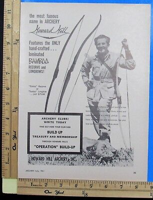 1961 HOWARD HILL ARCHERY Bamboo recurve longbows bow hunt Vintage Print Ad 9436