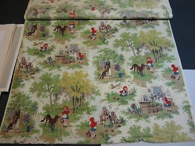 Tissu Ancien Chaperon Rouge Vintage Old Fabric Tissue Little Red Riding Hood