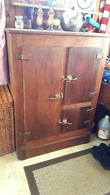 "Antique Oak Ice Box; LARGE 45"" H x 22 1/2"" D x 32 1/2"" W -7 Storage Surfaces"