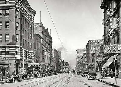 """1910 Memphis Tennessee, Main Street View, 14""""x10"""" PHOTO, Businesses, automobiles"""