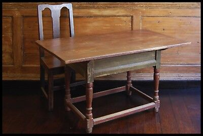 Antique Country Tavern Table ( Original Paint ) Old Farmhouse Shaker Folk Rustic