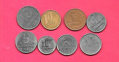 Brazil 8 Diff Different 1980-2009 Used Coin Lot Collection Set Inc Older & Large