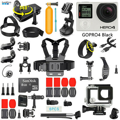 GoPro HERO 4 Black Edition + 40 Pcs Extreme Accessories Kit Bundle 12MP Camera