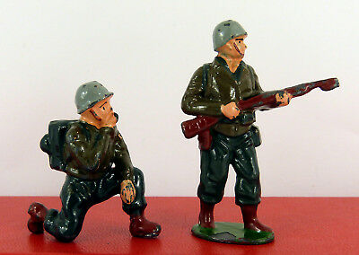 TIMPO LEAD U.S ARMY G.I's WITH WALKIE TALKIE & ON GUARD WITH RIFLE ( GOOD CON