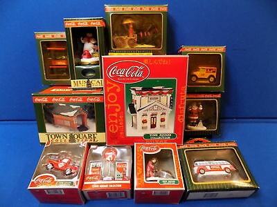 Huge Coca-Cola Town Square Village Collection Lot Bank Coke Holiday Decorations