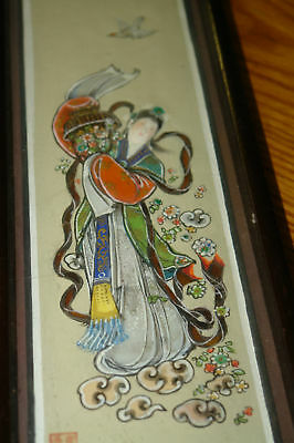 Unusual Vintage Asian Art Inlay Glass on Plaster Hand Painted