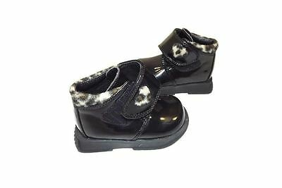 new SPROCKETS Toddler girls Black Patent Ankle Boots Shoes w/ Leopard Size 3