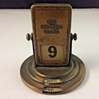 Vintage Art Deco T&P Brown & Bigelow Perpetual Desk Calendar Brass Advertising