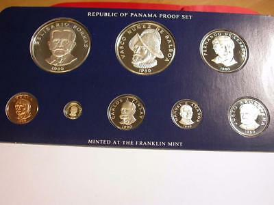 1980 Panama Proof Set of 8 Coins w/ 2  Silver coin  ID#k677