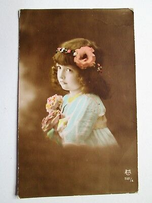 PRETTY LITTLE GIRL, FLOWERS IN HER HAIR - ACA SERIES No 1181/4 (1917)