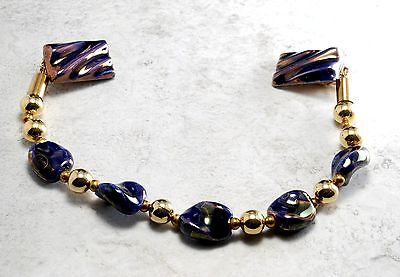 """Vintage Sweater Guard Glass Bead Blue Gold 11"""" Jewelry Ladies Fashion Accessory"""