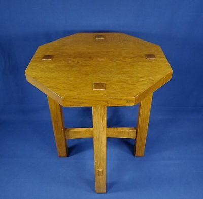 Vintage Stickley Oak Arts Crafts Mission Tabouret Table Mortise & Tenon Octagon