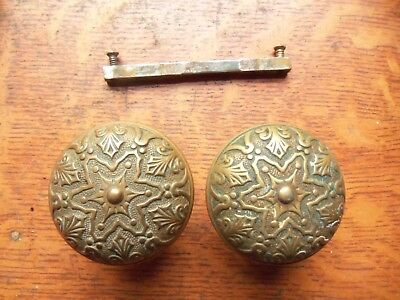 "Antique Fancy Cast Brass Doorknobs Door Knobs c1886 by Branford ""Star"""