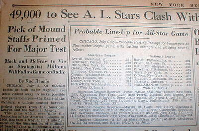 1933 headline newspaper w same day preview ofThe 1st ever BASEBALL ALL STAR GAME