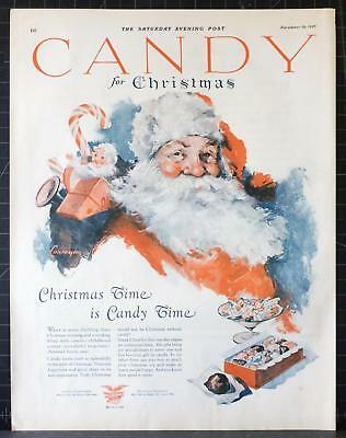 1927 Christmas Candy Santa Claus Doll Toy Trumpet Lonergan Art Print Vintage Ad