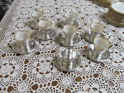 Set of 8 Sterling Silver Demitasse Coffee Cups & Saucers, Lenox Liners 23 Pieces