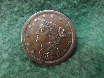 1857 U.S.Half Cent  Gorgeous UNCIRCULATED  Braided Hair Half Cent Penny  NICE !