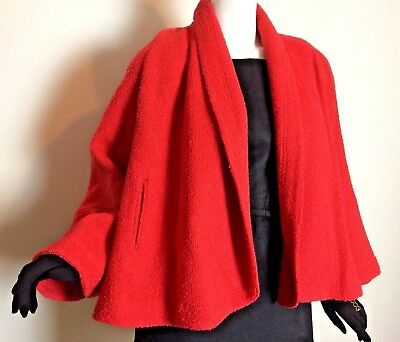 Vintage 1950s 60s Red Open Front Wide Sleeve Boucle Swing Jacket Poodle Cloth L