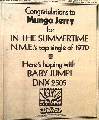 "MUNGO JERRY/RAY DORSET UK Tour Vintage ORIG 1979 Press/Mag ADVERT 3.5""x  2.5"" - £1.99 