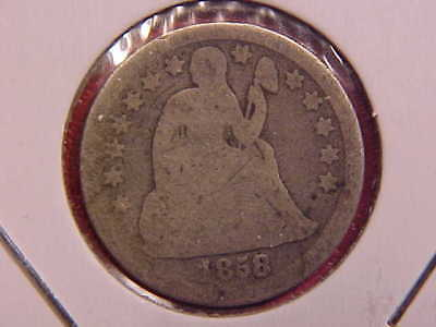 1858 Seated Liberty Dime - Graffiti - Ag - See Pics! - (X920)