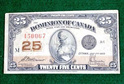1923 Dominion Of Canada  25 Cents Fractional Currency - Free Domestic S&h