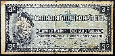 Vintage 1961 Canadian Tire 3 Cents Note - Free Combined Shipping