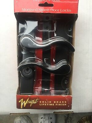 Wright Solid Brass Brushed Nickel Storm Door Replacement Mortise Lock Set