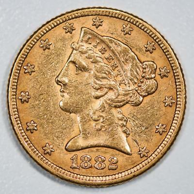 1882 Liberty Head $5 Gold Half Eagle Item#J1992