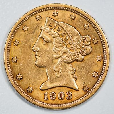 1903 S Liberty Head $5 Gold Half Eagle Item#J1993
