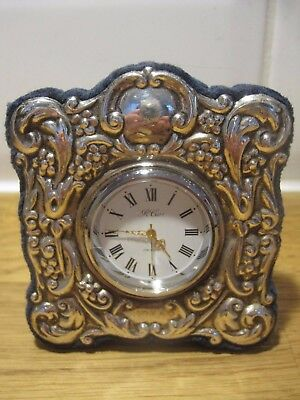 Sterling 925 solid silver R Carr framed miniature repousse clock - works perfect