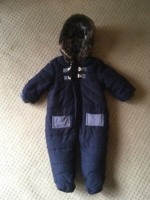 Baby Boys Navy Blue Winter Snow Pram Suit Coat Age 3-6 Months From Matalan