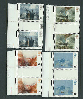 GB QEII - 1975 PAINTINGS BY TURNER - SG 971/4 - Left MARGIN GUTTER PAIRS - MNH