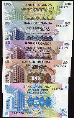 5 notes from the BANK OF UGANDA   PICK 10 to 14   Unc.