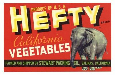 HEFTY Vintage Salinas CA Vegetable Crate Label Elephant, **AN ORIGINAL LABEL**