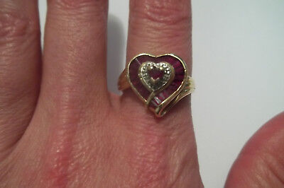solid 10k Yellow Gold Natural Ruby Heart Halo Ring Vintage 4.1 grams size 9